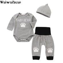 newborn baby toddler sets casual outfit clothes o neck long sleeved tops pants hats 3pcs set baby clothes for boys and girls Waiwaibear Baby Infants Boys Set Baby Long-sleeved Top +Long Pants+Hats 3PCS Casual Sets Baby Outfits Clothes Kids Costume SS03