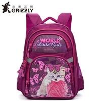 GRIZZLY Kids Cute Cartoon School Bags For Girls Children Orthopedic Waterproof Primary School Backpack For Grade