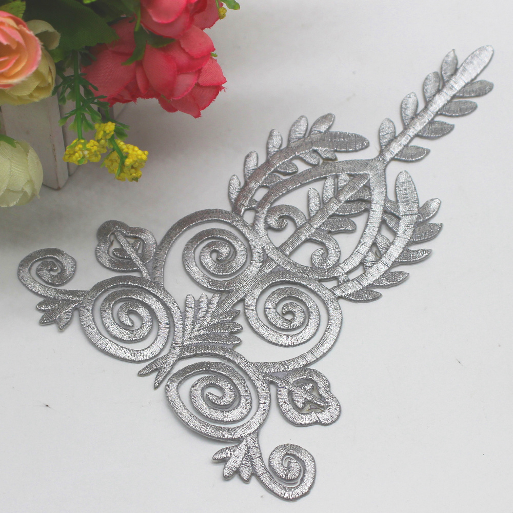 YACKALASI Iron On Patches 5 Pcs/Lot Gold Appliqued Cosplay Lace Diy Embroidery Flower Trims 18*12cm