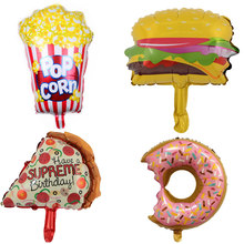 1pcs New Cartoon balloon Pizza Hamburg Popcorn Donut food balloon birthday party decoration cake balloons for baby show(China)