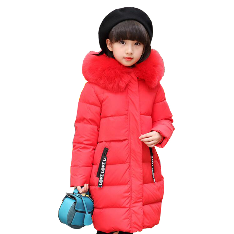 Family fitted Mother&Girl Clothes Hooded Long solid large Fur Collar Children Outerwear Parka Overcoat Children Winter Jackets 2017 winter new clothes to overcome the coat of women in the long reed rabbit hair fur fur coat fox raccoon fur collar