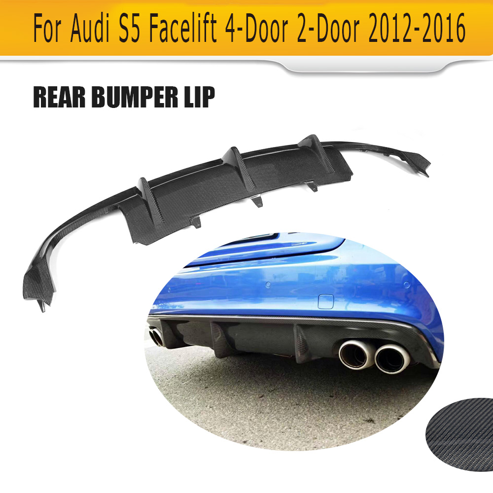 carbon fiber rear bumper diffuser lip spoiler for audi a5 sline s5 coupe 2012 2016 convertible. Black Bedroom Furniture Sets. Home Design Ideas
