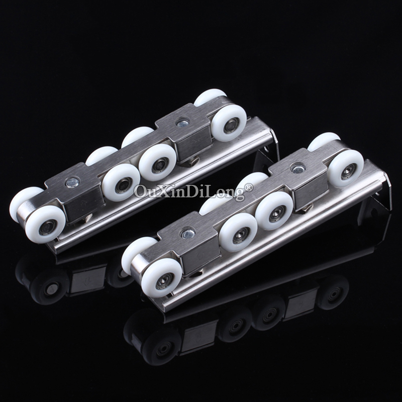 High Qulaity 1Set Heavy Duty Sliding Door Rollers 8 Wheels Wood Door Hanging Wheels Rail Roller Pulley Furniture Mute Wheel