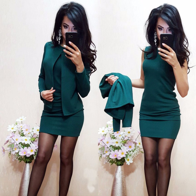 2018 New Arrival Fashion Autumn Suits Sexy Sheath O-Neck Above Knee Mini Dress Full Sleeve Casual Coat Two Pieces Women Sets 1