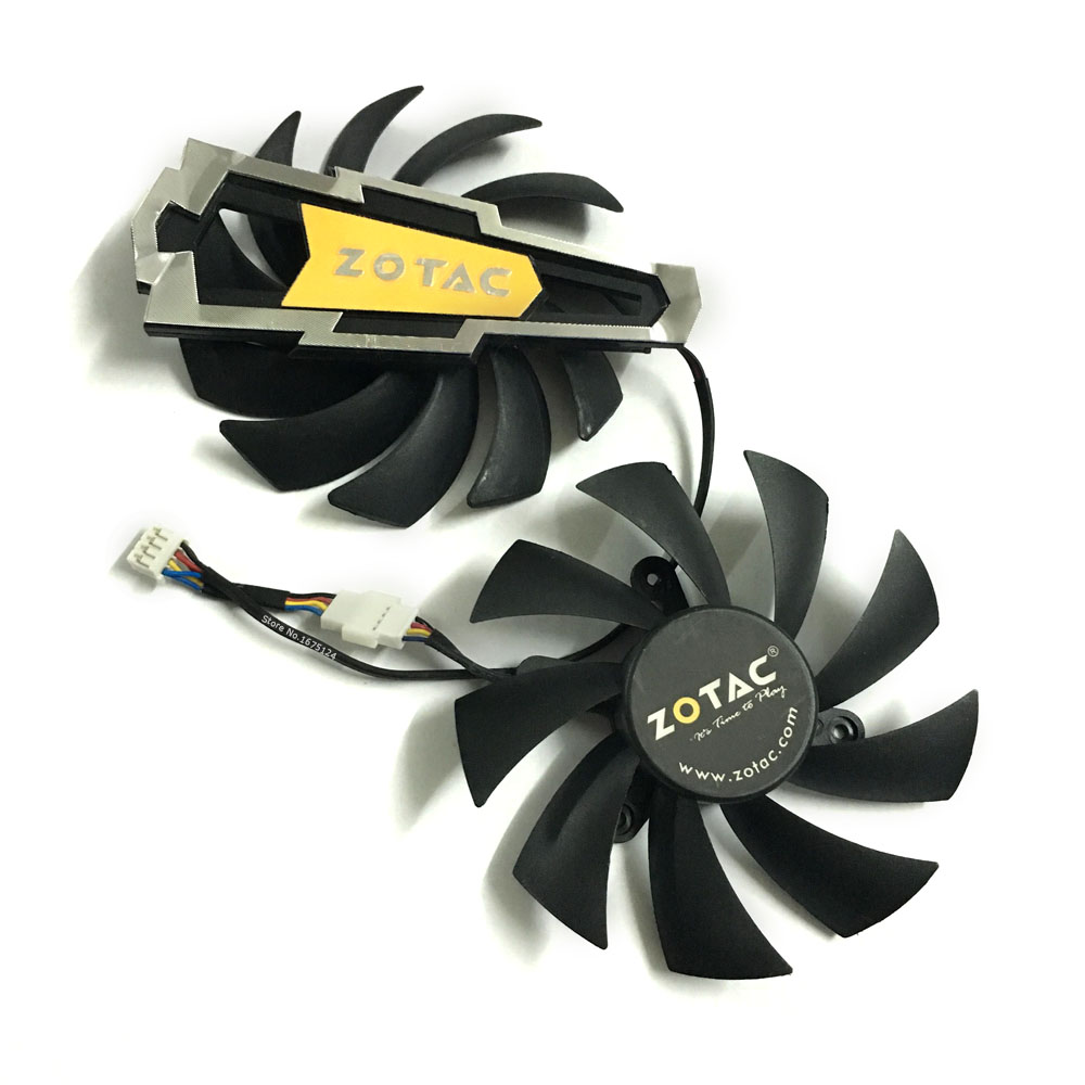 2pcs/lot Graphics card <font><b>fan</b></font> 4Pin gtx660/660ti/670 VGA GPU Cooler <font><b>Fans</b></font> For ZOTAC GTX660 GTX660ti GTX670 Video Card cooling image