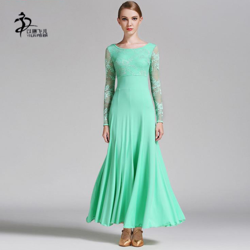 Breathable Milk Silk & Lace Fabric Waltz Dance Competition Dress Women Pure Color Ballroom Standard Costumes Tango Dress