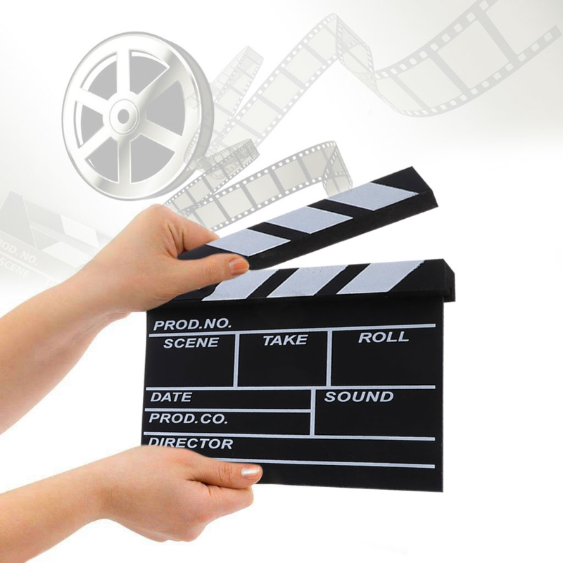 OOTDTY Black Clapper Board Acrylic For Dry Erase Director <font><b>TV</b></font> Movie Film Slate Clapboard Clap Handmade Cut Prop image