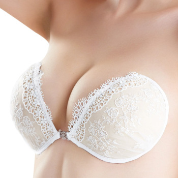 White Lace Embroidery Bra Super Push Up Silicone Bralette Backless Strapless Invisible Pushup Sticky Bras for Women Wedding