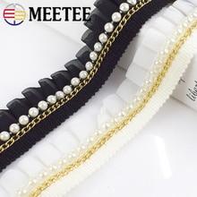5Yards Chiffon Beads Lace Ribbon Ruffle Pleated Lace Trim Skirt Cuffs Doll Skirt Wedding Dress Fabric DIY Garment Accessories asymmetric ruffle trim ditsy skirt