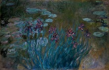 High quality Monet Painting irises and water lilies Reproduction wall artworks Phonto Printed Oil Canvas Supplies