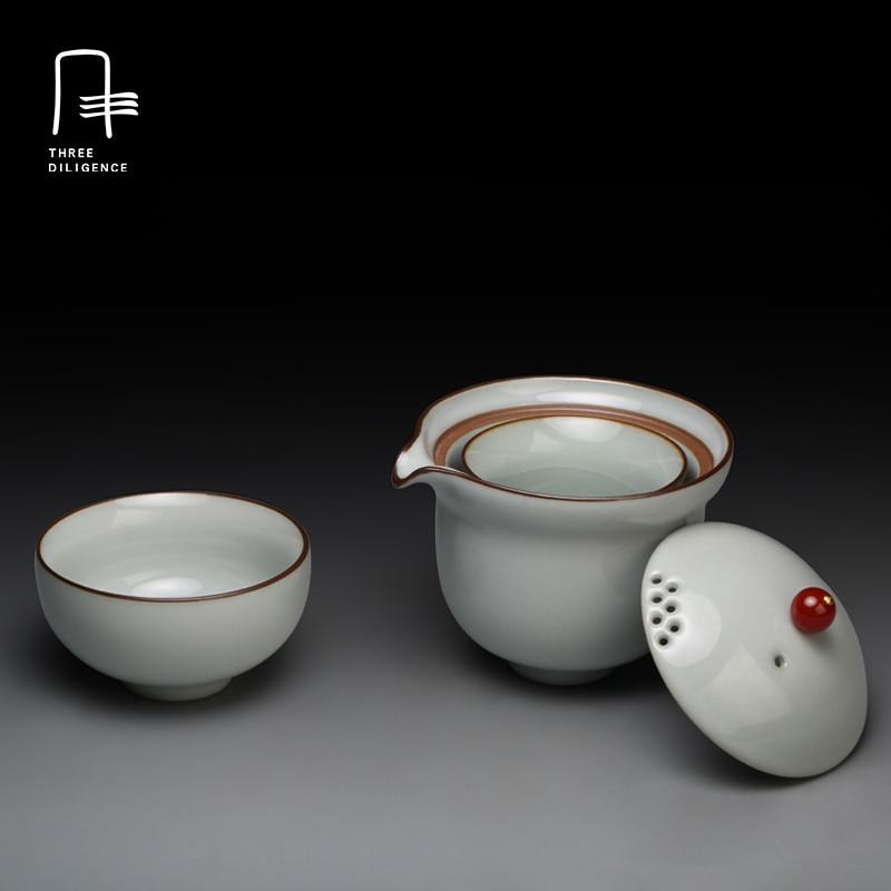 4pcs Tea set 1 tea pot 2 tea cups Gaiwan with bag mini Jingdezhen porcelain travel cup ceramic Sets oolong chip cup China