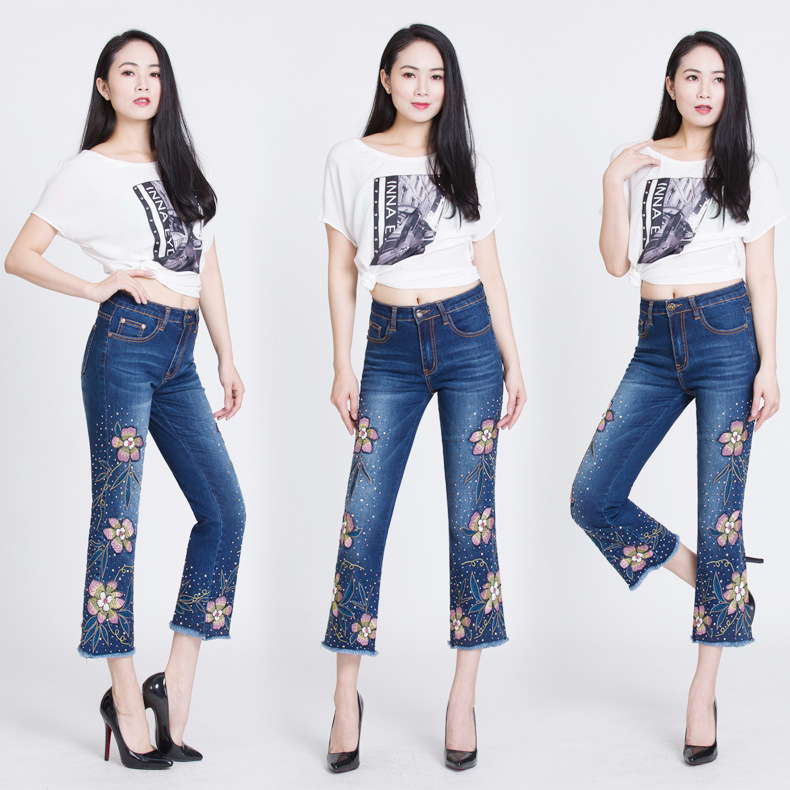 KSTUN Womens Jeans Flare Pants Stretch Slim Fit High Waisted Sequin Embroidered Floral Denim Sexy Ladies Push Up Big Size Mujer 12
