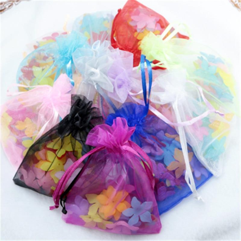 100pcs Organza Bag Solid Different Color Jewelry Pouches Delicate Soft Package 7x9cm 9x12cm 10x15cm 13x18cmLipstick Portable Bag