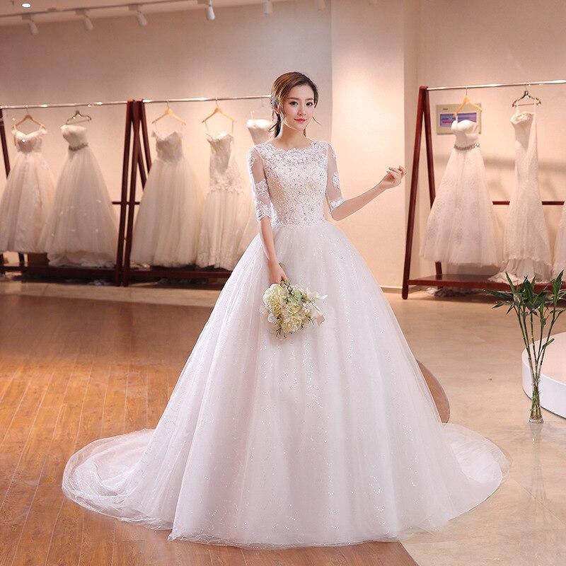 Lace Appliques Sequined Beads Vestido De Novia O-Neck A Line Sweep Train Lace Wedding Dress Bridal Dresses Robe De Mariage