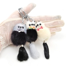 цена на Lovely Bear Keychain Raccoon Cute Fluffy Key chain  Genuine Mink Fur Pompom Key Ring Pom Pom Toy Doll Bag Charm Car Key Holder