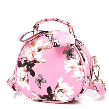 Floral Printing Small Round Bag Women Korean Style Cute Hand Bag Ladies Fashion Hand held Shoulder