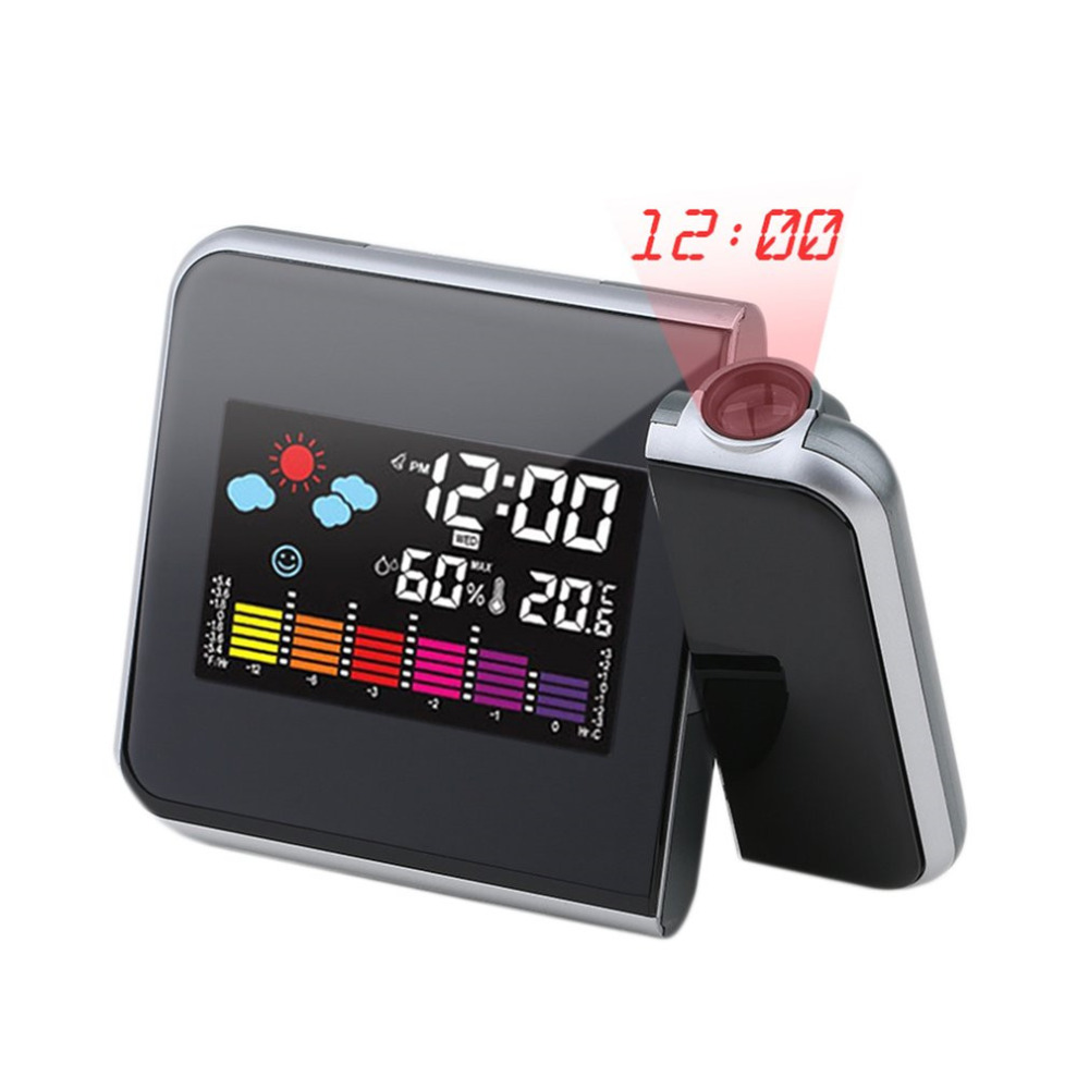 Black Digital Projection Snooze Alarm Clock Colorful LED Display Backlight Silent No Ticking Clock Weather Station House Clocks