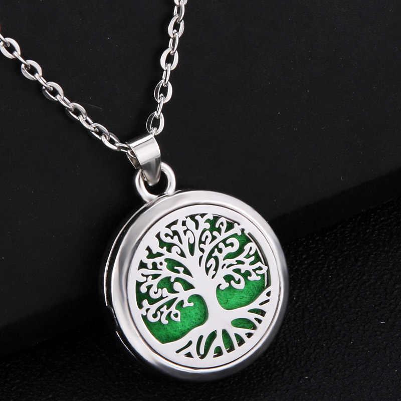 Drzewo życia ze stali nierdzewnej Aroma Box naszyjnik magnetyczny olejku aromaterapeutycznego dyfuzor Box wisiorek medalion biżuteria