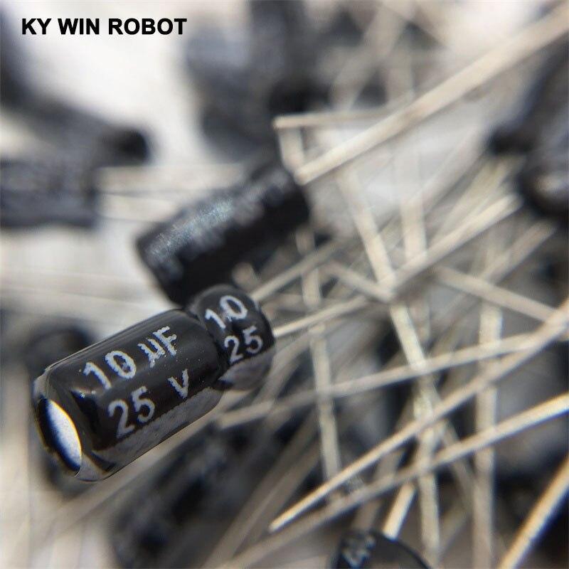 50pcs/lot 10UF 25V 10mf 105C 4X7mm Aluminum Electrolytic Capacitor 25V10UF Radial Lead 50pcs