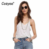 Cosyee Brand Women S Summer Casual Camisole Black White Stripes Print V Neck Regular Length Vogue