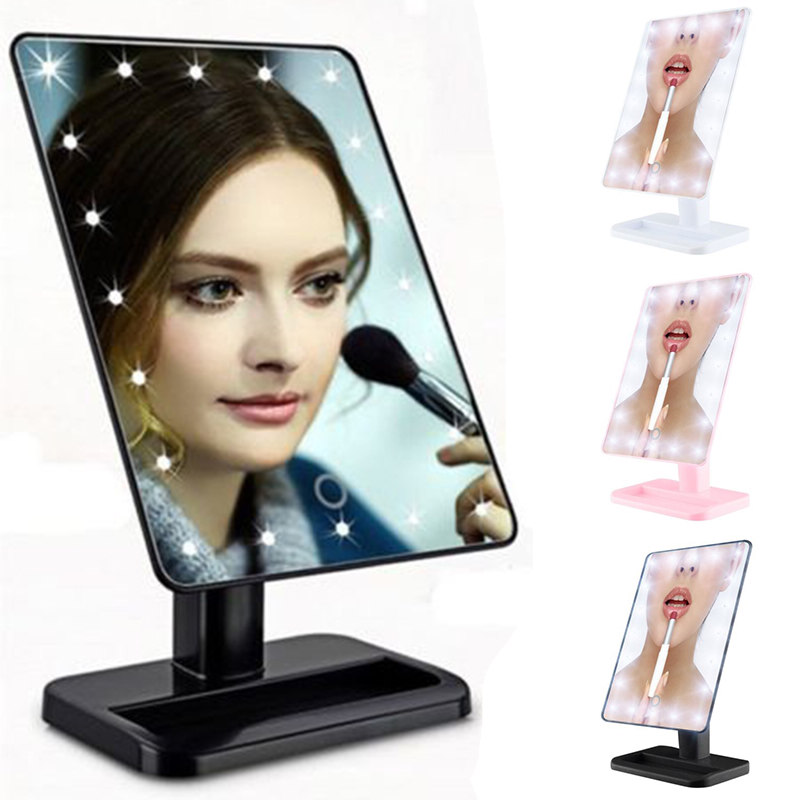 20 LED Lights Touch Screen Mirror Adjustable Tabletop Lamp Lighted Desktop Cosmetic Makeup Mirror 3 Colors 180 Rotating
