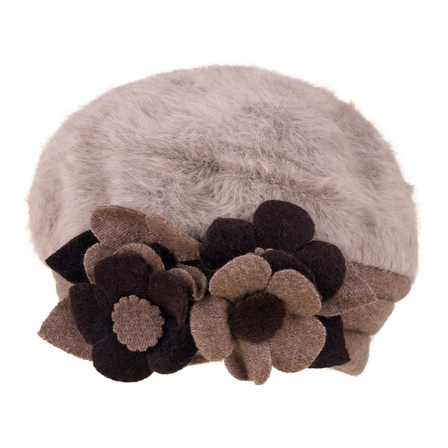 Winter Wool Fashion Khaki Women Flower Warm Caps Casual Beanies 3