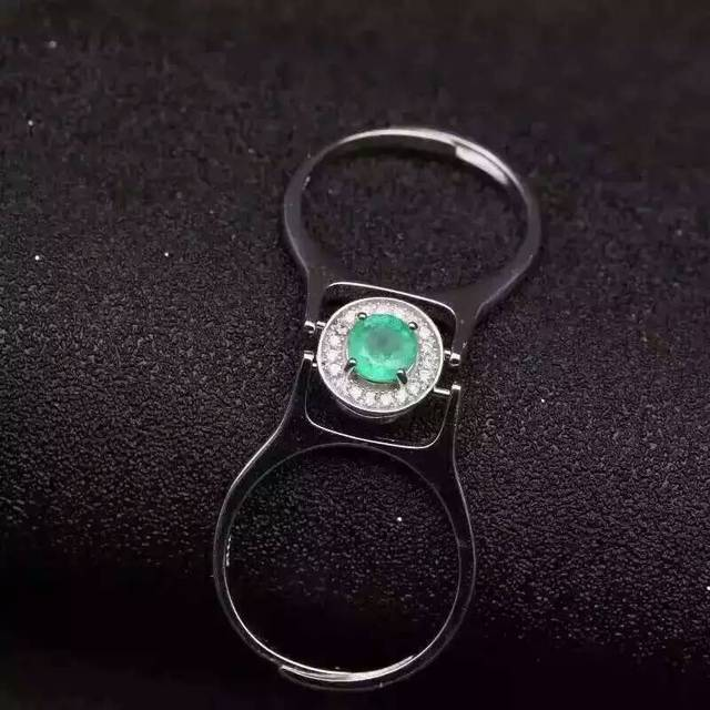 Natural green emerald gem Ring Natural tourmaline ring 925 sterling silver trendy Elegant refined two wear women party Jewelry