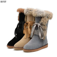 hot deal buy sklfcxzy autumn winter women's boots plush snow boots front ribbon warm shoes rabbit hair snow boots size 34-42