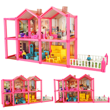 69 * 16.5 * 36cm No.955 DIY Family Doll House Toy Dollhouse Tilbehør Med Miniatyr Møbler Garage Leker For Girl Gifts