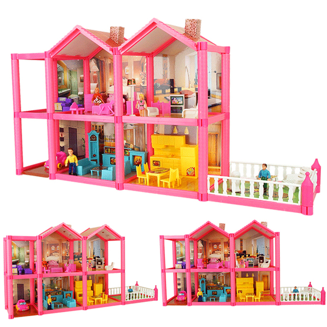 Kid's Large DIY Family Doll House with Miniature Furniture