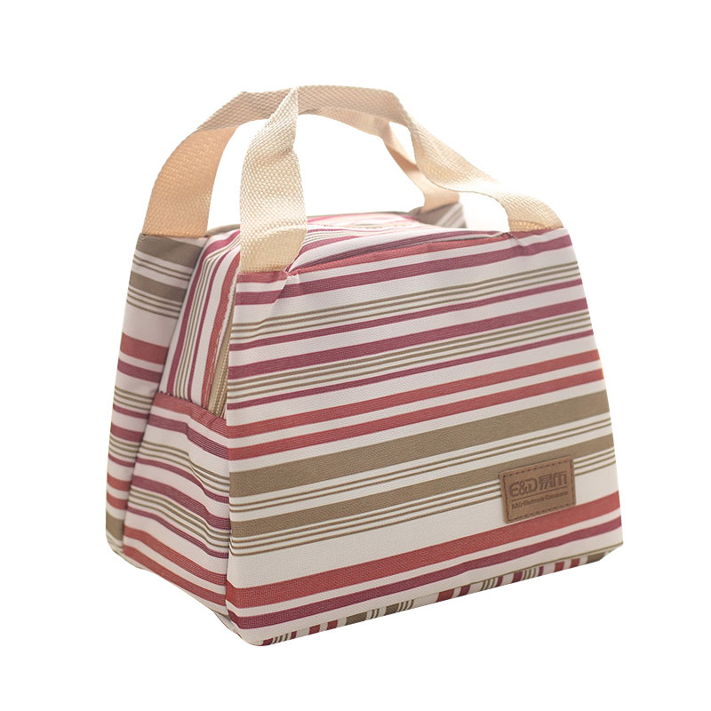 Insulated Lunch Bag for Kids Men Stripe Thermal Food Tote Oxford Cloth+Pearl Cotton Foil Food Box Cooler Bags For Picnic School