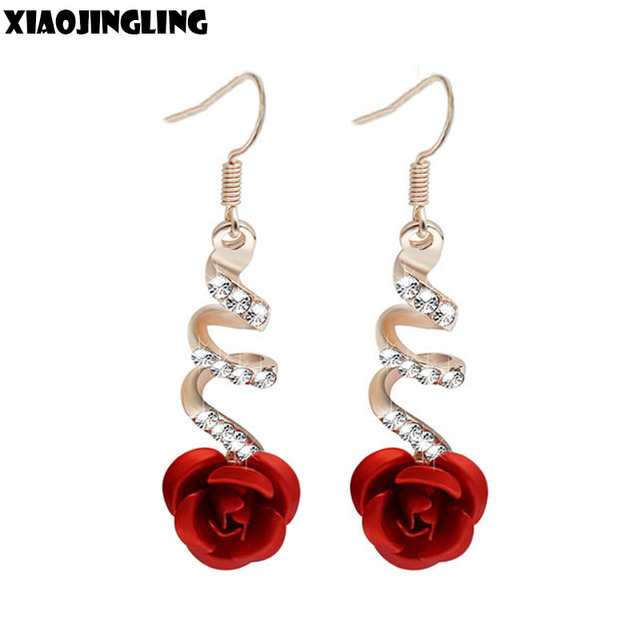 Xiaojingling Korea Fashion Lovely Temperament Crystal Red Rose Flower Women Dangle Drop Earring For Wedding