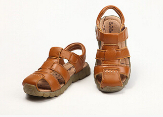 New 4 Color Designs Boys Soft Leather Sandals Boys Summer Leisure Soft Sole Genuine Leather Beach Sandals drop shipping leather sandals boys 2020 100