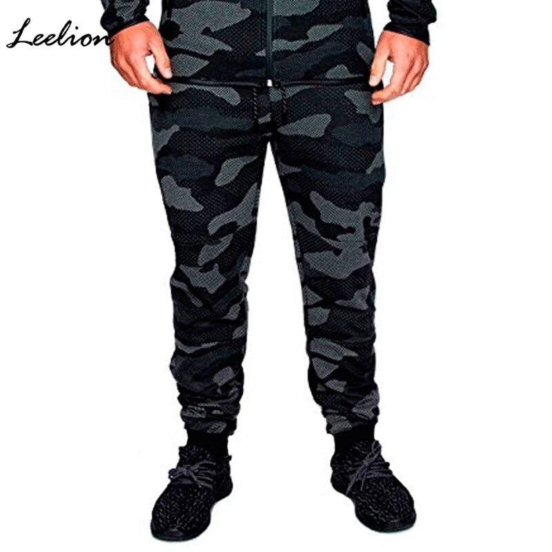 LeeLion 2018 New Fashion Casual Pencil Pants Men Camouflage Sweat Pants Solid Elastic Mens Joggers Trousers Pantalon Hombre