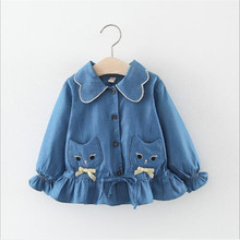 2019 spring/autumn girl denim coat new sweet cat pocket children long sleeve Top 0-3 years infant autumn double jacket