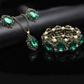 2017 бронзы год сбора винограда покрыло комплект ювелирных изделий Королевский синий зеленый кристалл ожерелье серьги браслет подарок на день рождения для жены мама 1105
