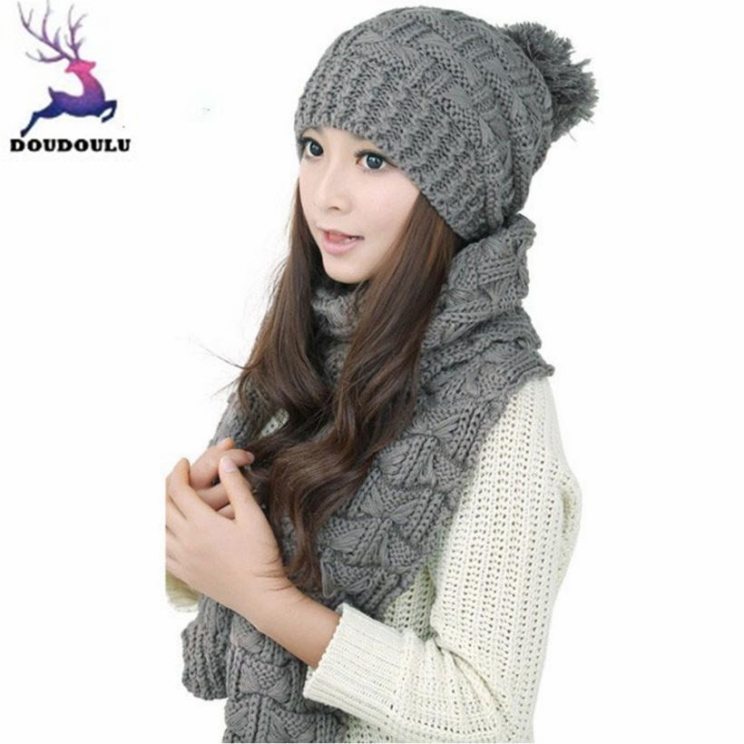 DOUDOULU winter hats for women beanies Wool Women s Hats Winter sale  crochet woman beanies Solid Winter Scarf And Hat Set  QWM 4db2596c225