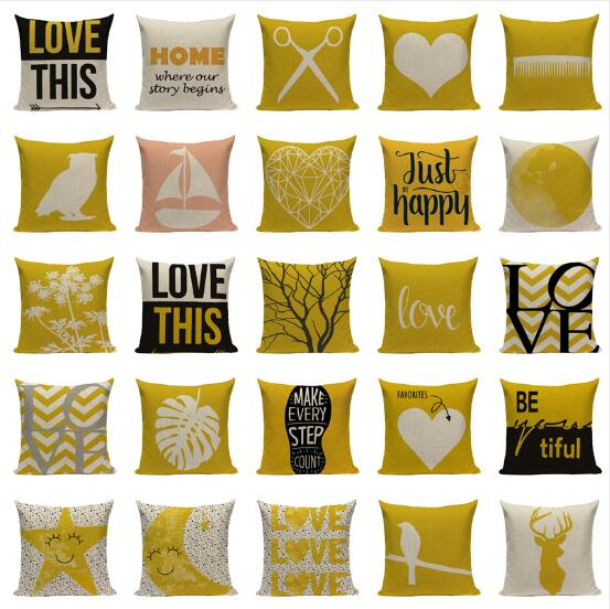 Us 4 5 Alphabet Style Mustard Yellow Cushion Cover Cushions Home Cafe Decor Pillow Cover Outdoor Cushions Y996 In Cushion Cover From Home Garden