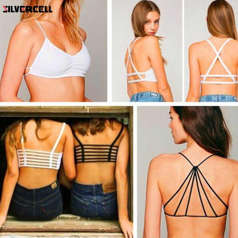 f491a0fe75 ... 2018 Sexy Women Girl Celebrity Strappy Bralette Caged Back Cut Out  Padded Bra Bralet Crop Top