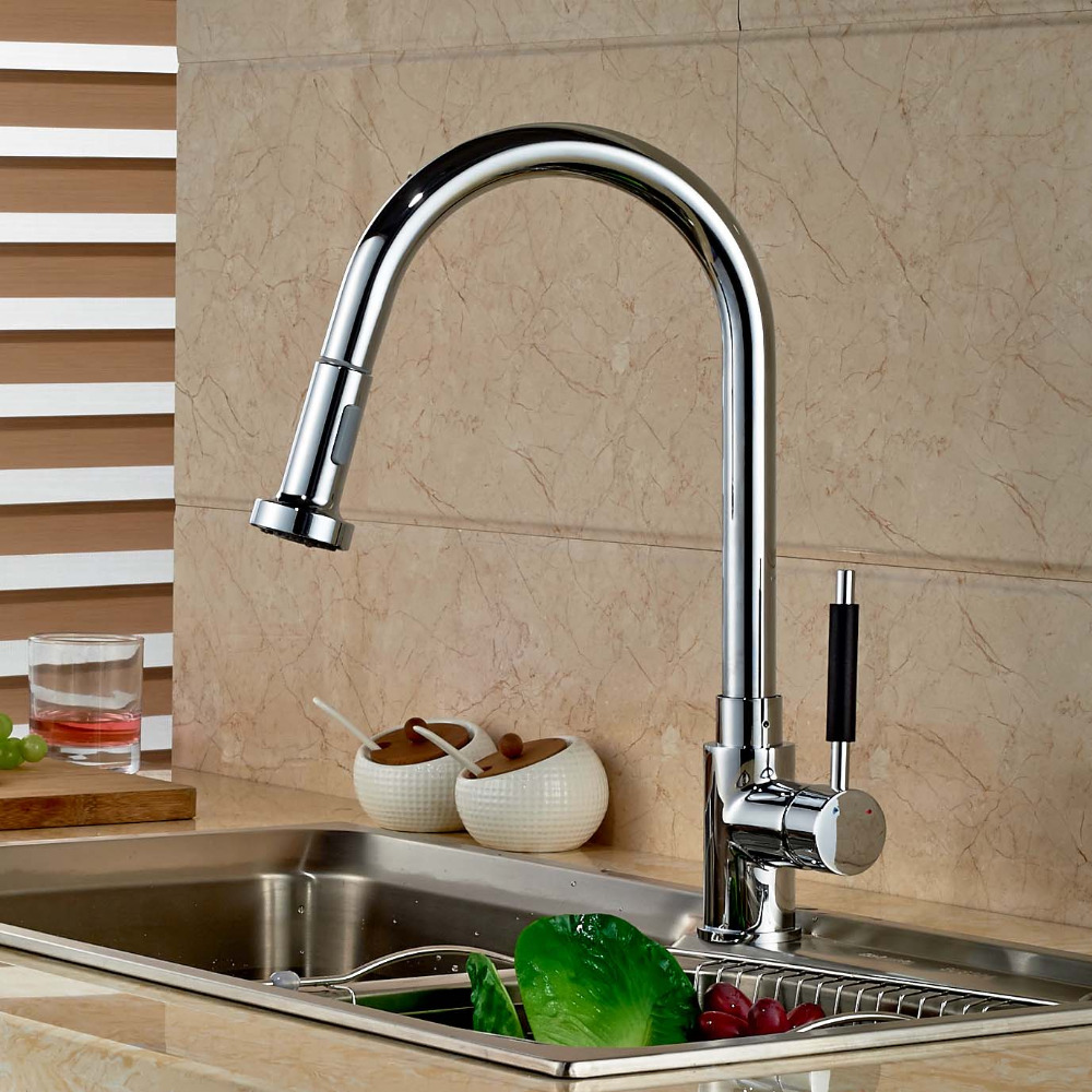 Chrome Brass Pull Out Kitchen Faucet Single Handle Hole Vessel Sink Mixer Tap kitchen chrome plated brass faucet single handle pull out pull down sink mixer hot and cold tap modern design