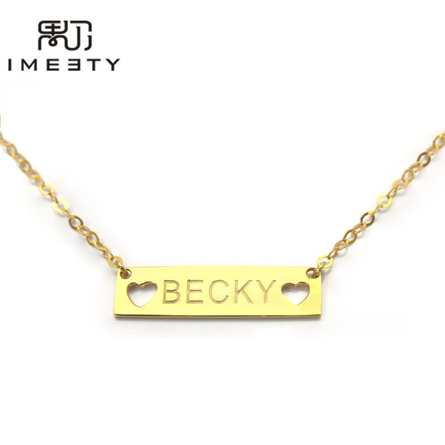 Imeety personalized couple necklace heart pendant gold plate imeety personalized couple necklace heart pendant gold plate engraved bar necklace engravable necklaces for women aloadofball Choice Image
