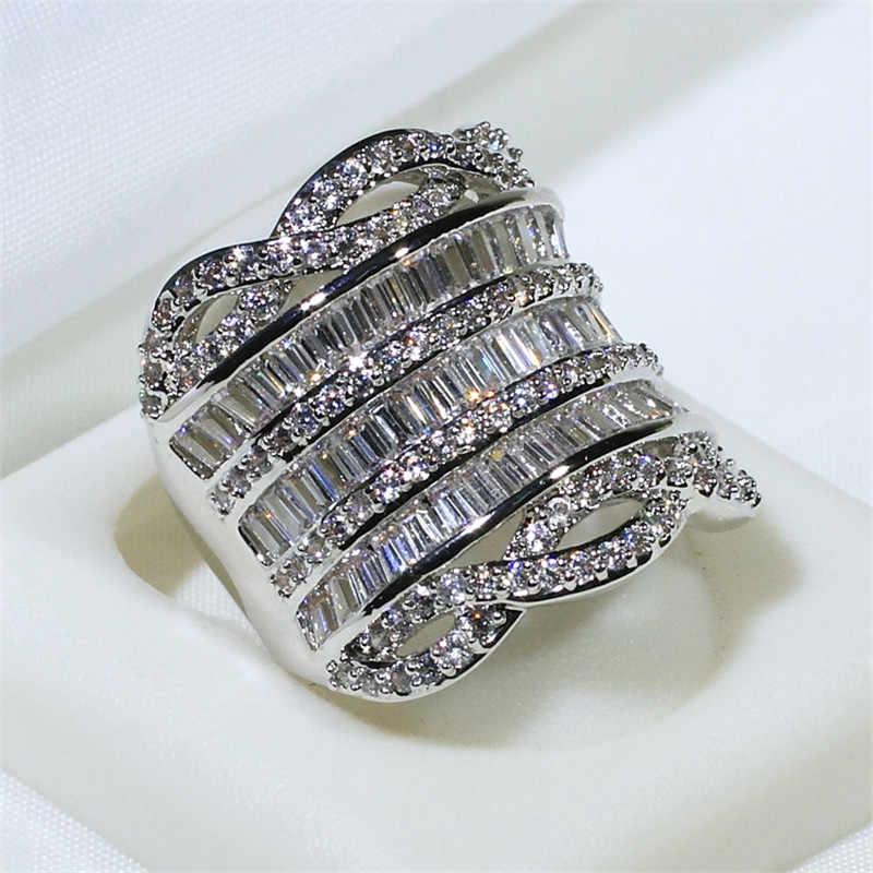 Choucong роскошное большое кольцо Т-образной формы 5A Циркон Cz 925 пробы серебро обручальное кольцо кольца для мужчин и женщин модное ювелирное изделие