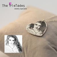 Gümüş takı kalp kolye kolye özel fotoğraf kazınmış benzersiz tasarım takı special sevgilisi için hediye