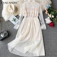 White Ruffle Dress Long Sleeve Beading Backless Pleated Elegant Pink Korean Mesh Plus Size Midi Summer Party Dress Women Vestido