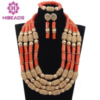 Hot!DHL Free Shipping! Luxury Fashion 4 Rows Long Coral Beads Necklace Set Nigerian Wedding Bridal Necklace Jewelry Set ABH113