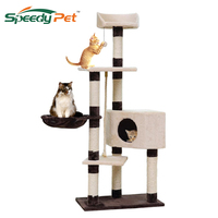 Domestic Delivery H139cm Cat Toys Cat House Kitten Bed Hanging Balls Tree Pet Furniture Scratchers Wood