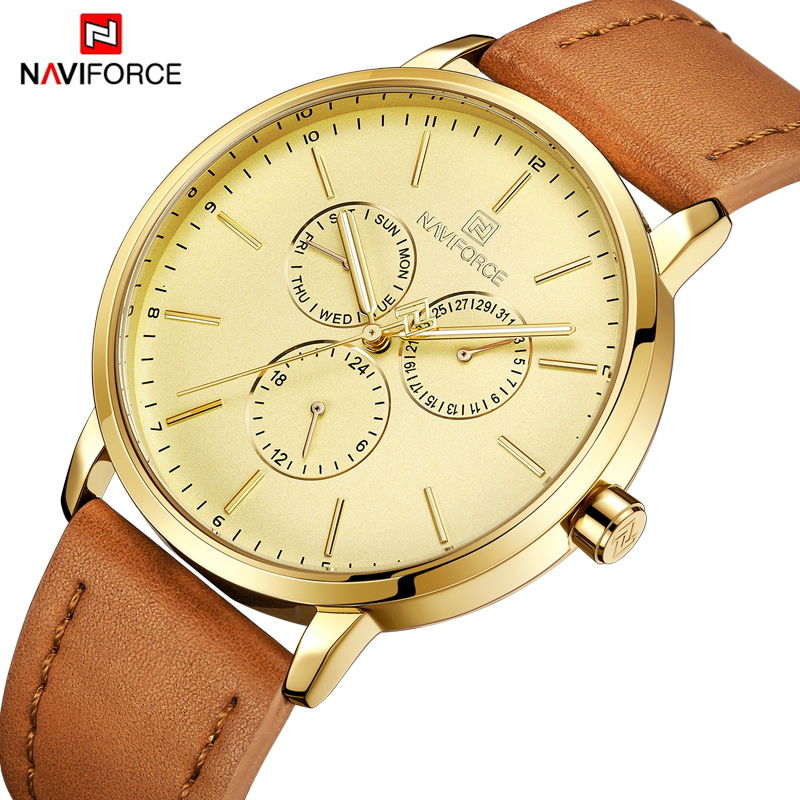 NAVIFORCE Top Luxury Brand Business Watches Men Gold Leather Strap Quartz Wrist Watches Simple Design Analog Male Hour Clock