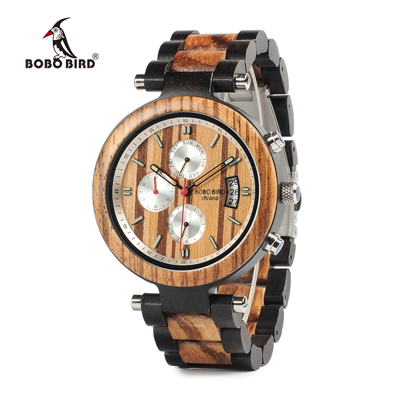 BOBO BIRD Multi-function Wooden Band Watches Luxury Brand Gifts Item Men Wrist Watch Male Relogio C-P17 Accept DROP SHIPPING