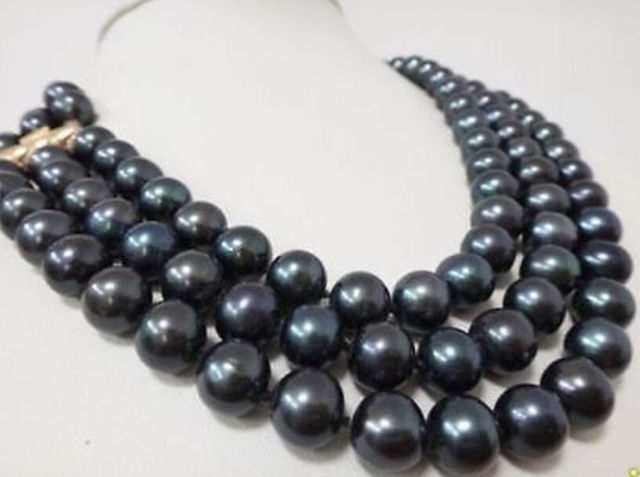 "Venda Hot new Style >>>>> 3 Linhas 9-10 MM AAA TAHITIAN BLACK PEARL NECKLACE 17-19 ""14 KGPGP FECHO"