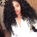 Pelo indio virginal sin cola frente pelucas de cabello humano 7A rizada profunda del pelo humano del frente del cordón pelucas negro mujeres peluca rizada Natural